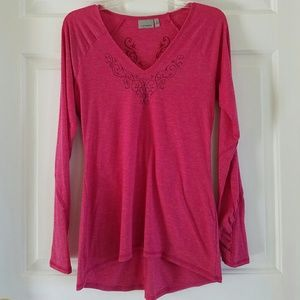 Athleta/ embroidered ruched long sleeve top